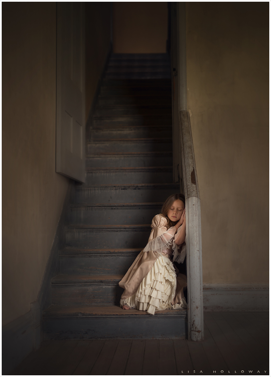 Little girl dressed in period clothing poses for a haunting portrait in the Montana ghost town, Bannack. LJHolloway Photography is a Las Vegas Child Photographer.