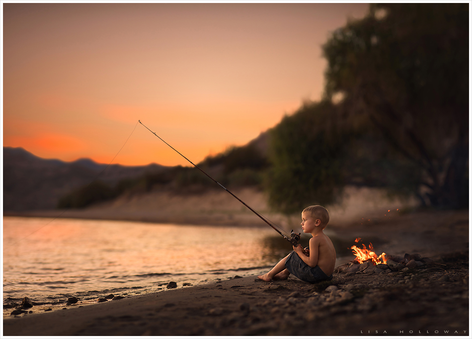 Little boy fishes at sunset. LJHolloway photography is a Las Vegas Child Photographer.