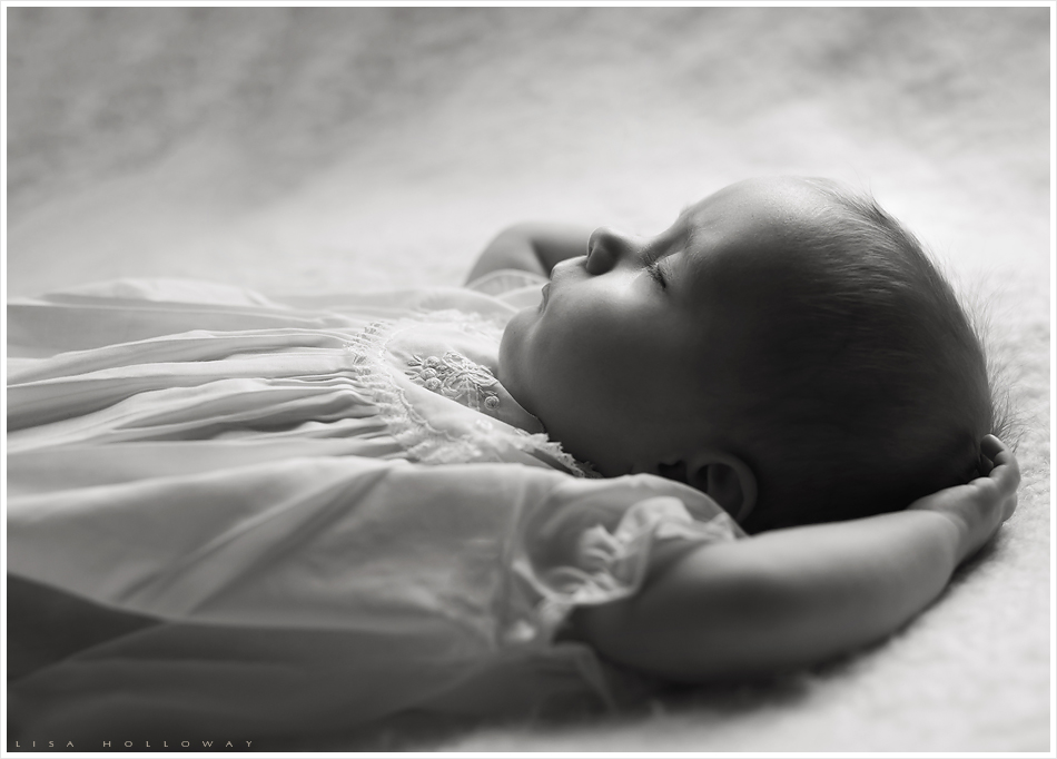 Black and white portrait of a sleeping baby girl. LJHolloway photography is a Las Vegas Child Photographer.