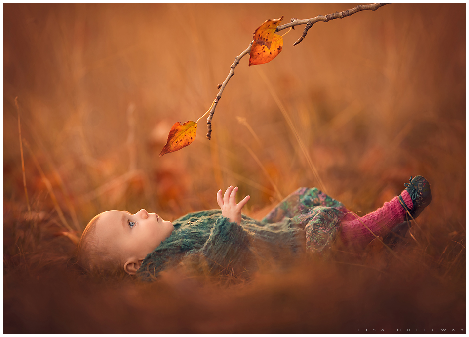 Baby girl in a fall field. LJHolloway photography is a Las Vegas Child Photographer.