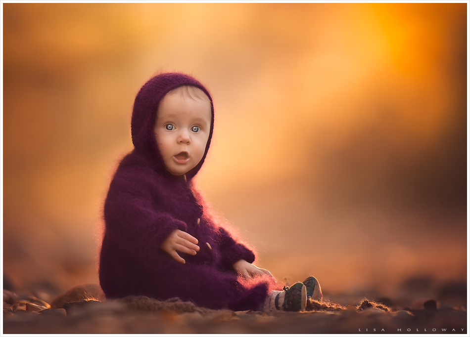 Baby girl in a purple knit romper sits in a fall scene. LJHolloway Photography is a Las Vegas Child Photographer.