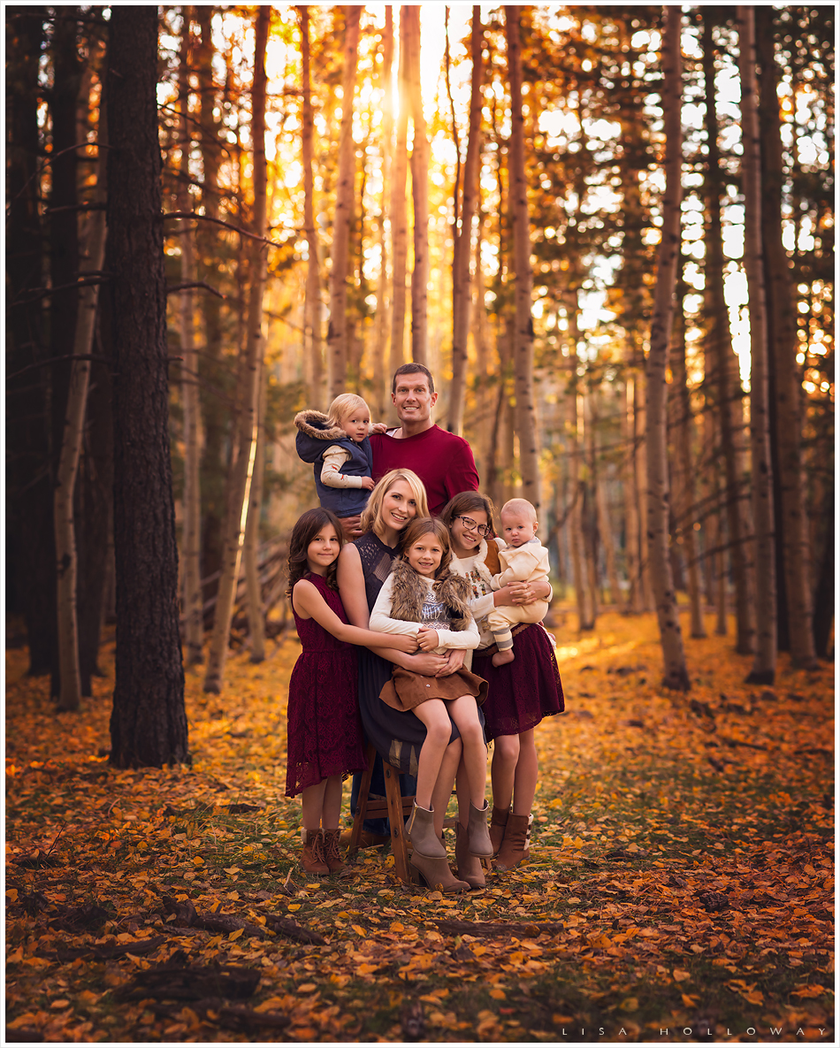 A beautiful family has their family pictures taken in the fall aspen trees near Flagstaff, Arizona. LJHolloway Photography is a Las Vegas Family Photographer.