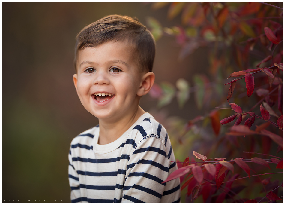 Adorable little boy has an outdoor portrait taken in the fall colors. LJHolloway Photography is a Las Vegas Family Photographer.