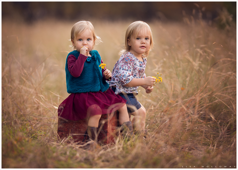 Fall family session with adorable 2 year old twin girls. LJHolloway Photography is a Las Vegas Family Photographer.