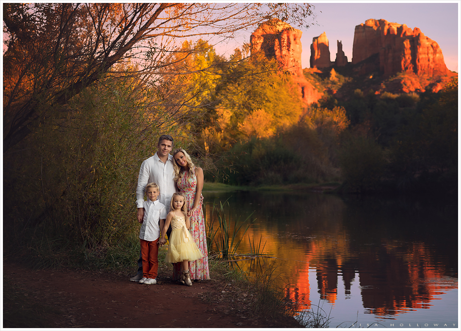 Beautiful family has their portrait taken outdoors in front of Cathedral Rock in Sedona, Arizona. LJHolloway Photography is a Las Vegas Family Photographer.