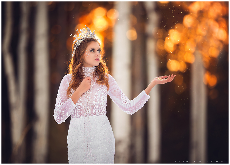 A creative conceptual photo shot on a cold, snowy winter day with a beautiful snow queen. LJHolloway Photography is a Las Vegas Photographer.