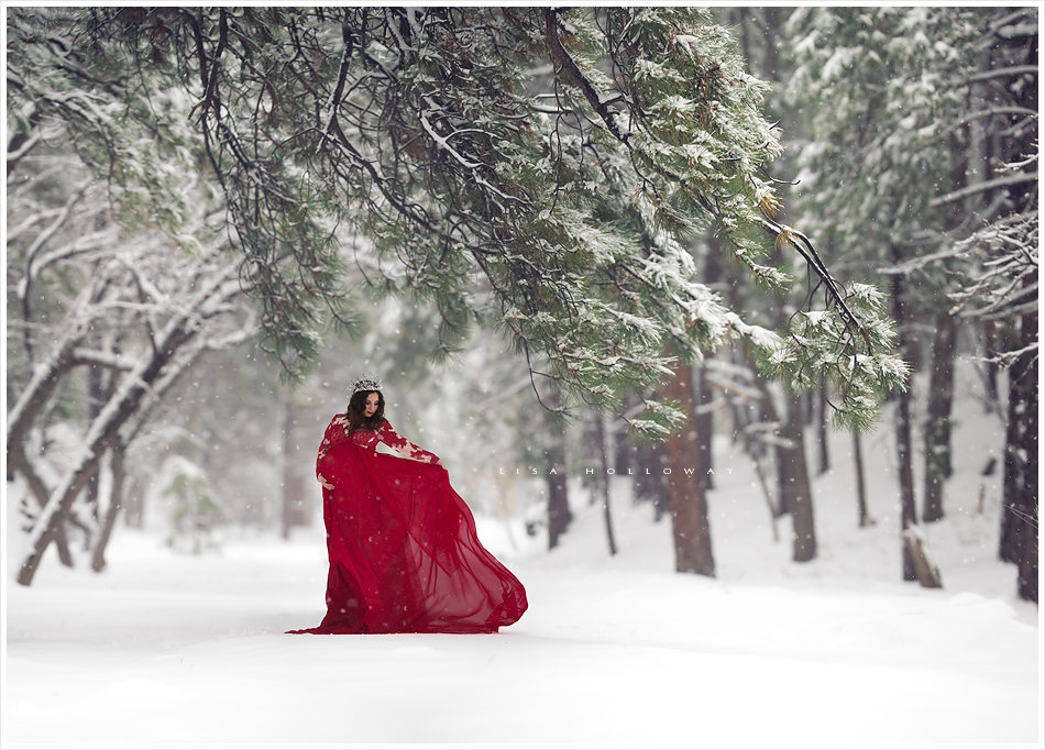 Beautiful pregnant woman in a red dress in a snow covered forest. LJHolloway Photography is a Las Vegas Maternity Photographer.