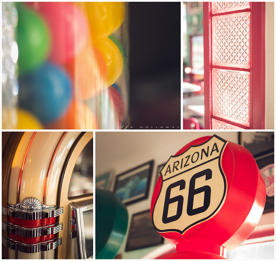 Retro vintage 1950's diner. Detail shots of jukebox, gumballs, route 66 sign, and dining area.